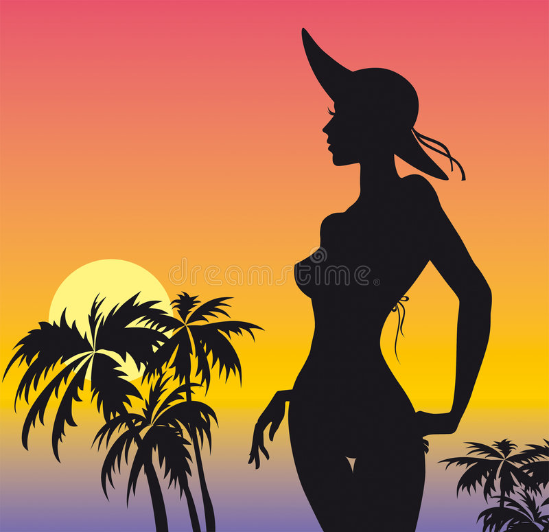 Download Beach girl stock vector. Image of graphic, drawing, fashionable - 2735782
