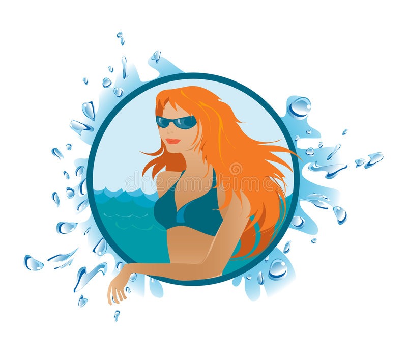 Beach girl vector illustration