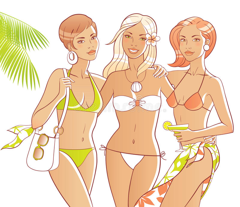 Download Beach girls stock vector. Illustration of body, green - 19846295