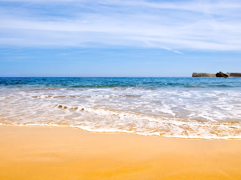 Beach of golden sand. In the Spanish Atlantic Ocean stock photo