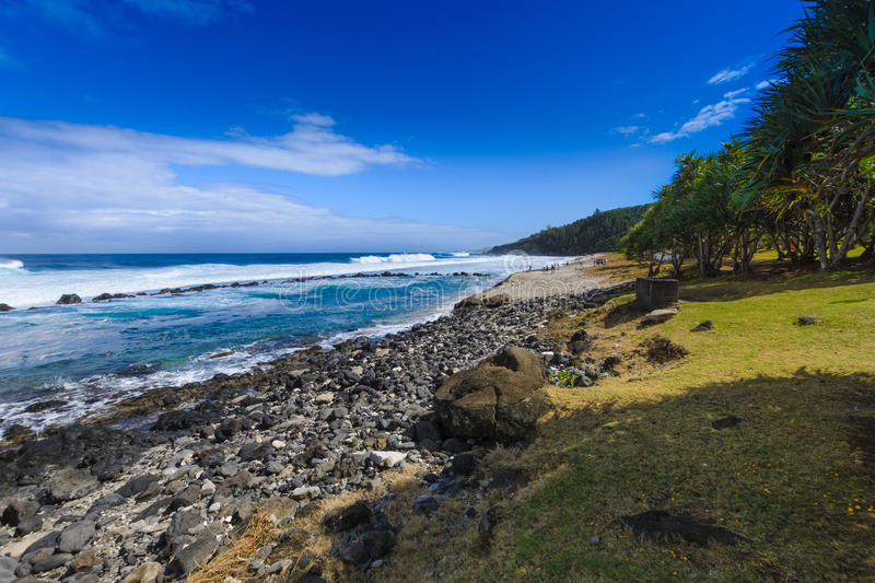Beach at Grande Anse place, Reunion Island royalty free stock images