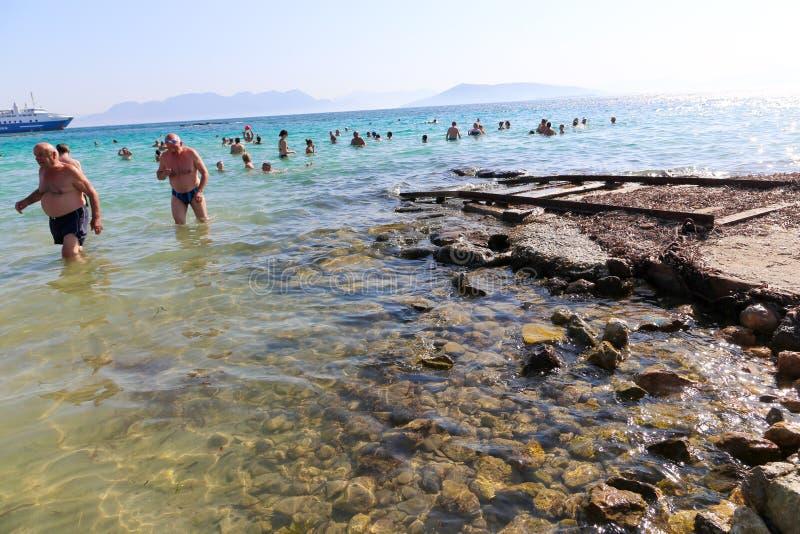 Beach at Greek island royalty free stock image