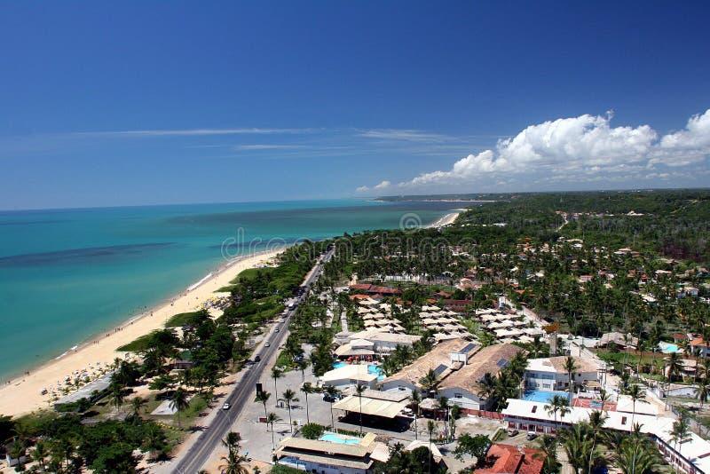 beach, green sea and blue sky in bahia - brazil stock image