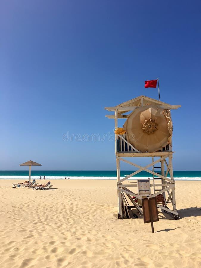 Beach guard at Praia de Chaves. Boa Vista, Cape Verde, Africa stock photos