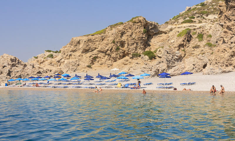 Beach in the Gulf of Afandou .Rhodes Island.Greece stock images