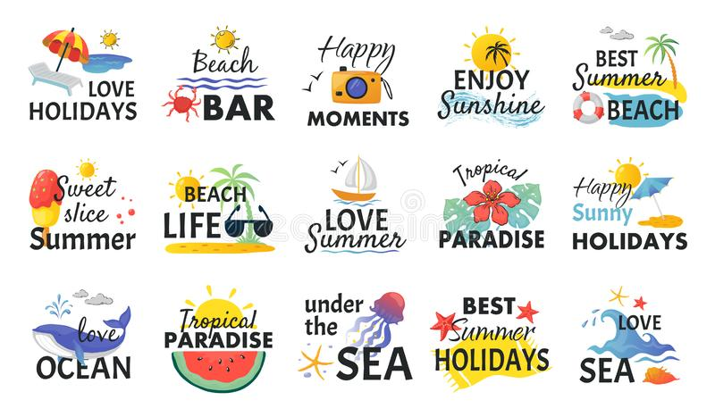 Beach hand drawn stickers. Summer holidays labels with lettering and tropical elements, sun waves and ice cream. Vector royalty free illustration
