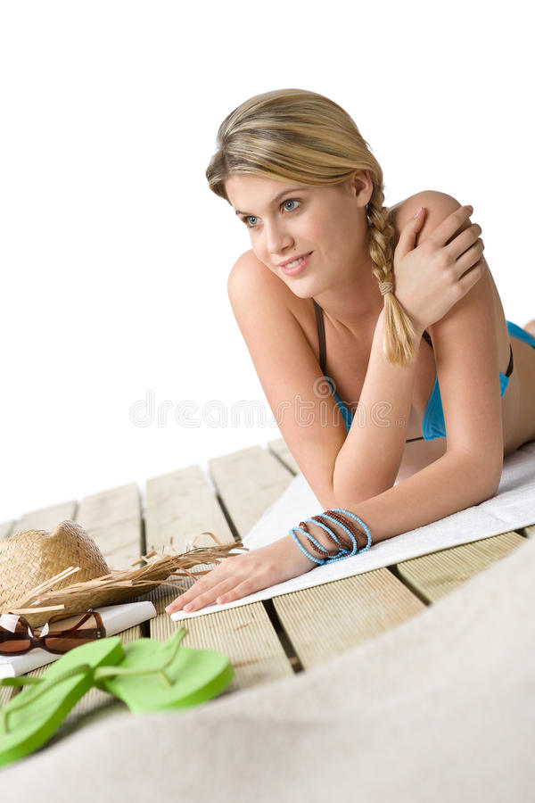 Download Beach - Happy Woman Relax On Wooden Plank Stock Photo - Image: 13466734