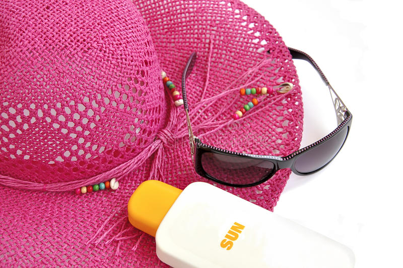 Download Beach Hat, Bottle Of Balm Solar. Stock Photo - Image of rice, heat: 9671430