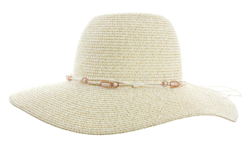 Beach hat. Isolated on white background stock images