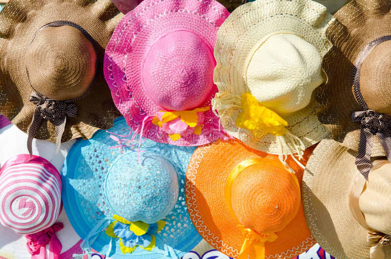 Beach hat. Lot of beach hat ready for sale stock photography