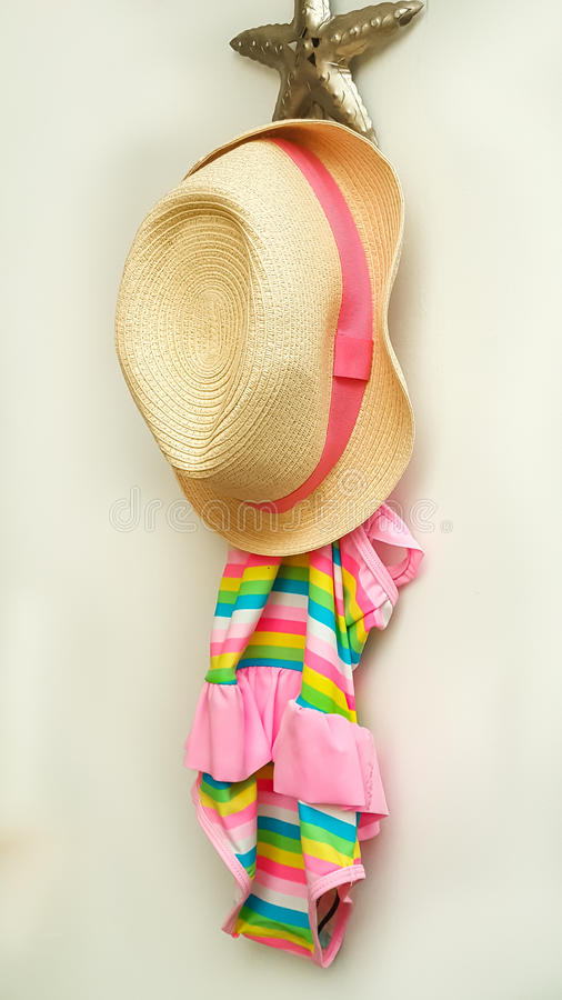 Beach Hat and swimsuit stock photography