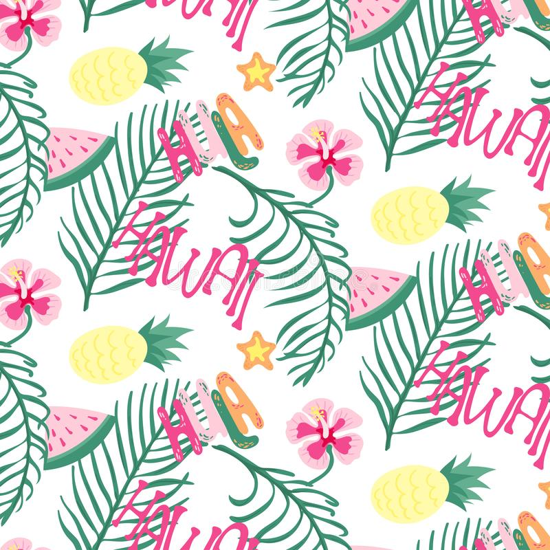 Beach Hawaii cheerful seamless pattern wallpaper of tropical dark green leaves of palm trees and flowers bird of paradise, stock illustration