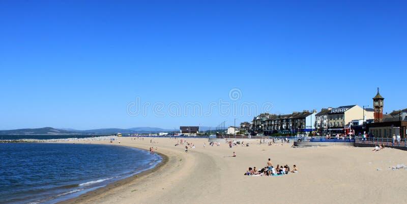 Beach at high tide, Morecambe, Lancashire, UK stock photography