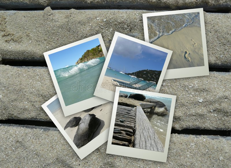 Beach Holiday Collage. Collage of beach items on a wooden deck stock photo