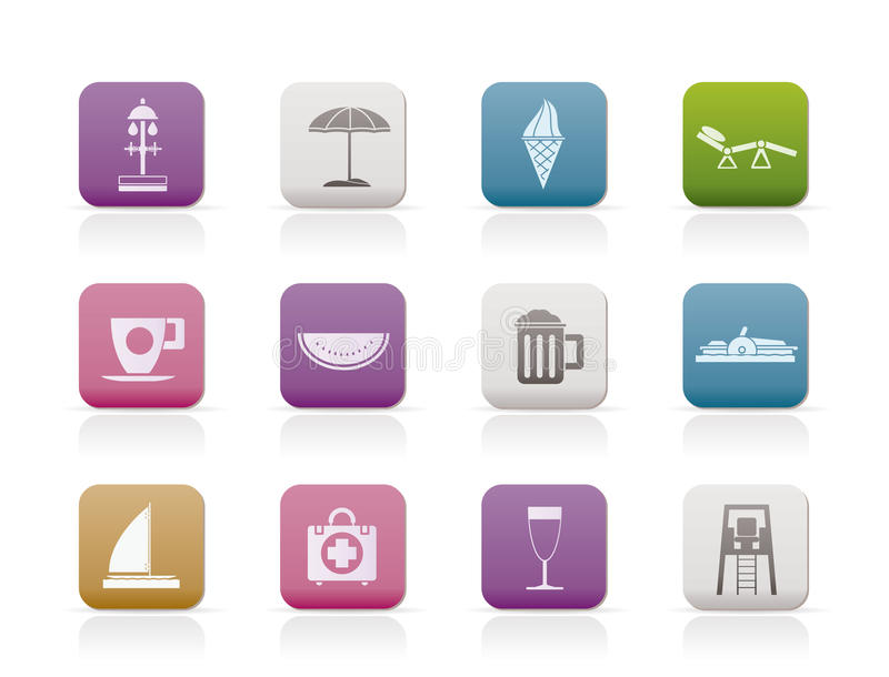 Beach and holiday icons royalty free illustration