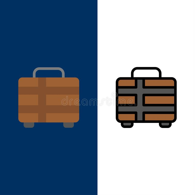 Beach, Holiday, Transportation, Travel  Icons. Flat and Line Filled Icon Set Vector Blue Background royalty free illustration