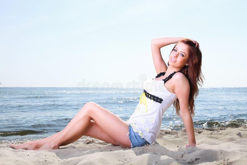 Beach Holidays Woman Enjoying Summer Sun Sand Looking Happy Royalty Free Stock Photos