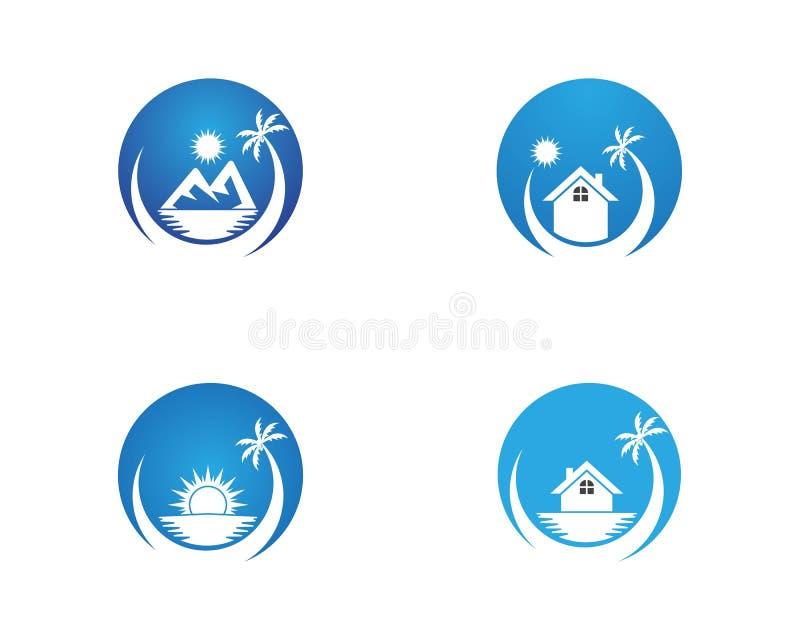 Beach hollidays icon logo vector trmplate.  stock illustration
