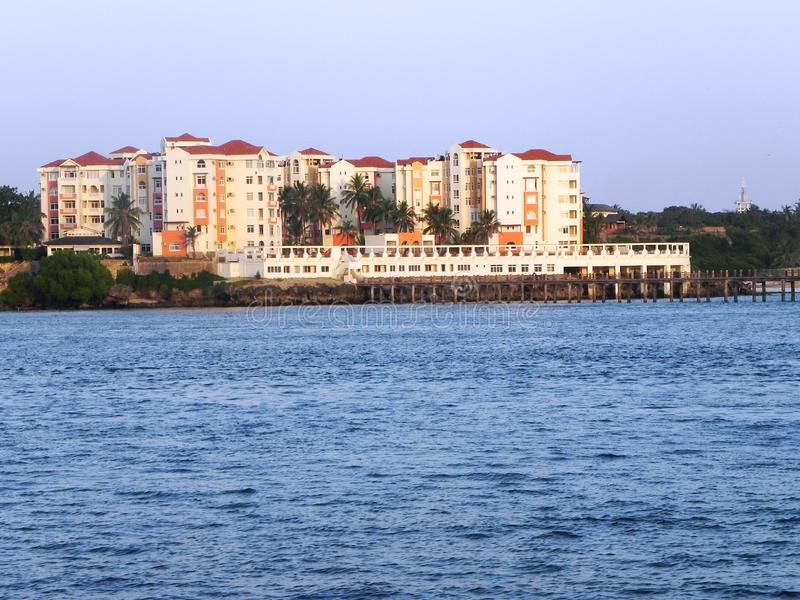 Beach hotels at the East African coast stock photo