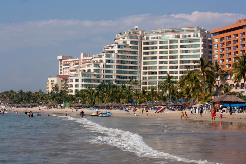Beach and hotels in Ixtapa bay stock image