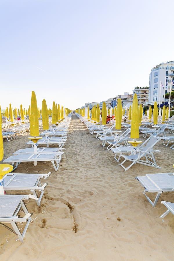 Beach With Hotels In Lido Di Jesolo, Veneto,Italy Stock