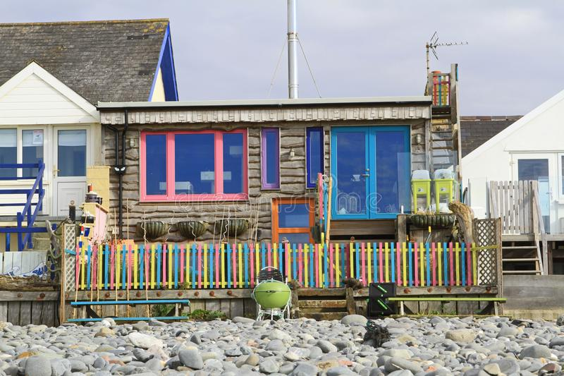 Beach house in Borth, Wales. A beach house located by the beach at the seaside town of Borth on the coast of Cardigan Bay Wales royalty free stock photo