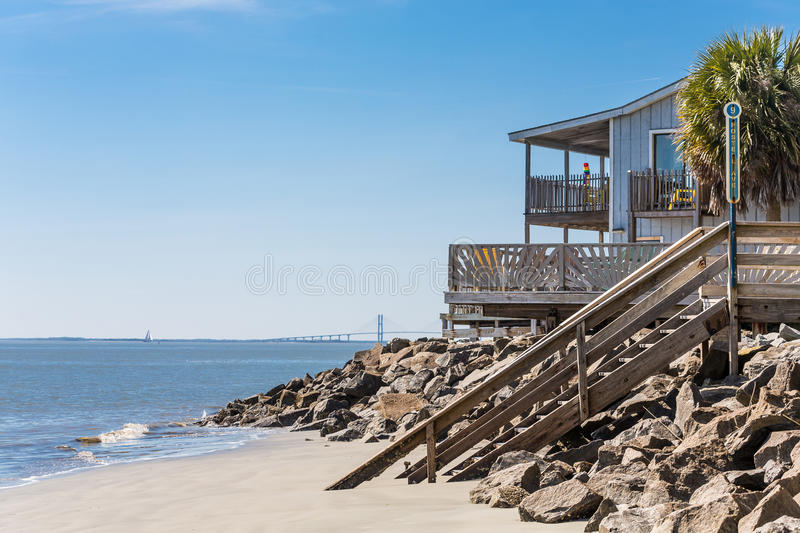 Beach House With Bridge In Background Stock Image Image of travel