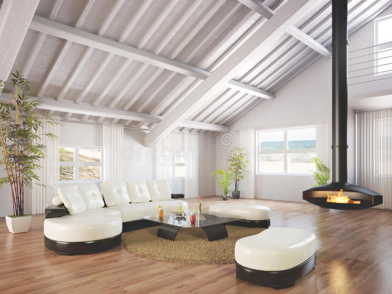 Beach house bungalow. Furnished and decorated with wood floors and a working fireplace with a beach scene background. Photo realistic 3d rendering stock illustration