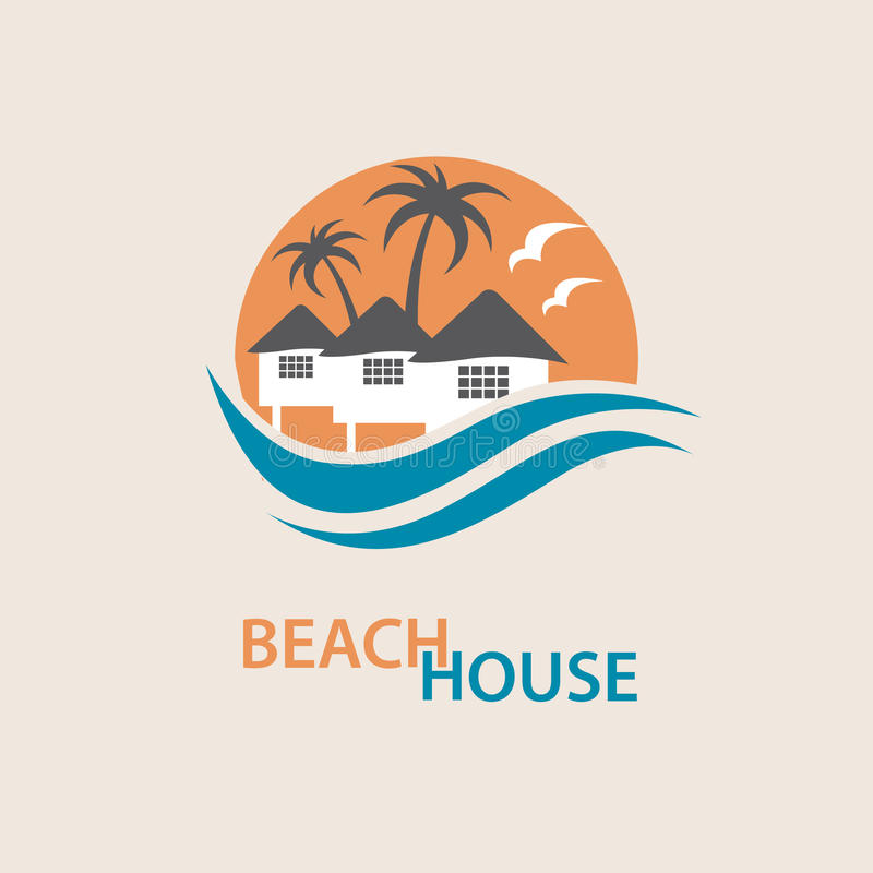 Beach house logo. Seaside beach logo with houses and palms royalty free illustration