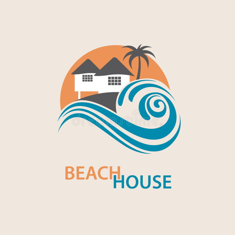 Beach house logo. Seaside beach logo with houses and palms stock illustration