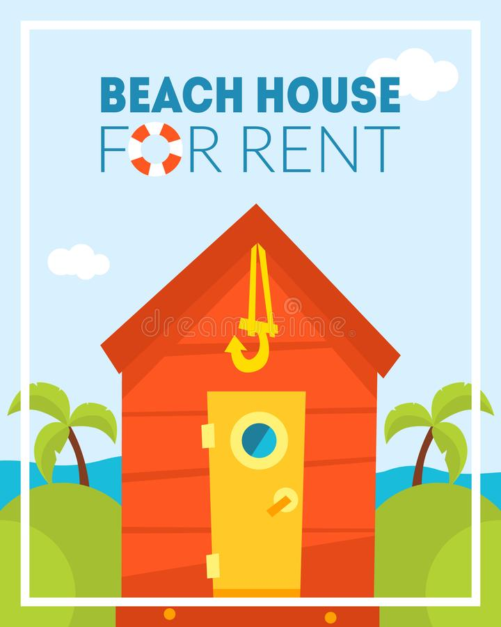 Beach House for Rent Banner Template, Tropical Bungalow, Summer Resort, Travel and Vacation Vector Illustration. Web Design royalty free illustration