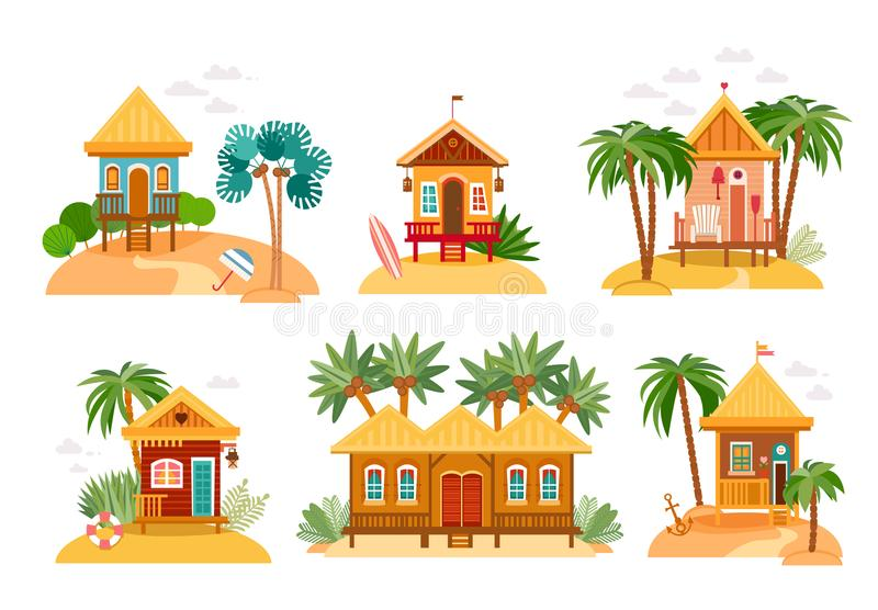Beach houses collection of straw huts, bungalow. Beach houses collection. Cartoon set of straw huts, bungalow for tropical hotels on island in flat design vector illustration