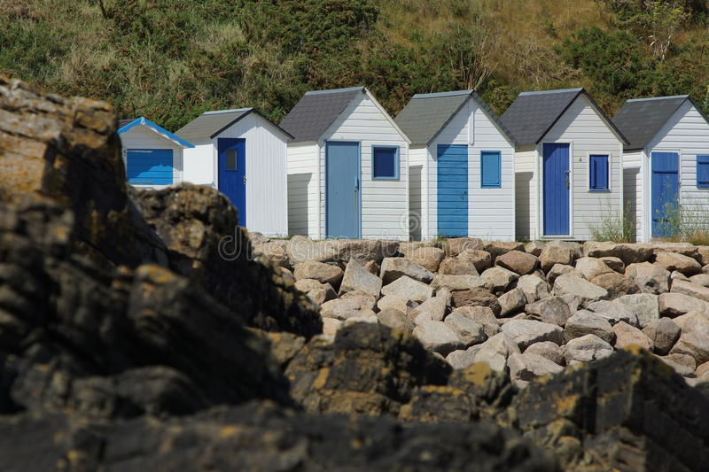 Beach houses in France. These beach houses in France are quite usefull if you want to keep your stuff dry when the beaches flood royalty free stock photos
