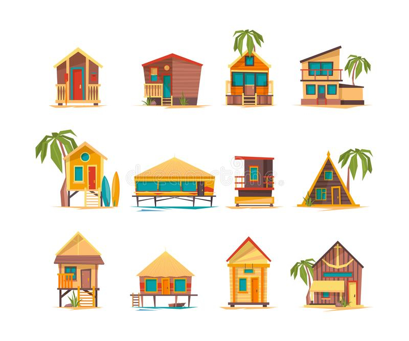 Beach houses. Funny buildings for summer vacation tropical bungalow cabins and constructions vector. Summer vacation bungalow, tourism building on sea coast stock illustration