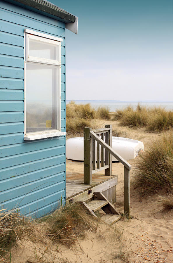 Beach Hut and Boat royalty free stock images