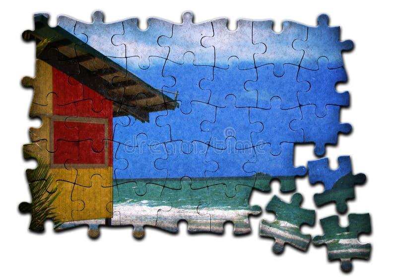 Beach Hut Jigsaw stock photos