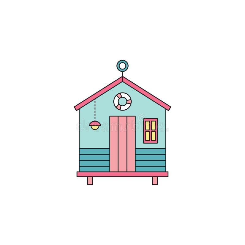 Beach hut line icon stock vector. Illustration of resort - 93867996