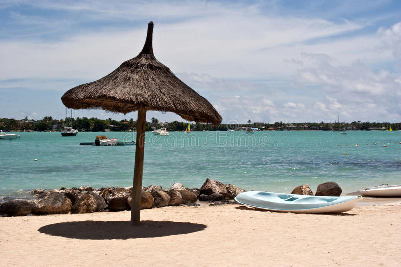 Beach Hut, Mauritius. Resort beach hut in Grand-Baie, Mauritius royalty free stock photo