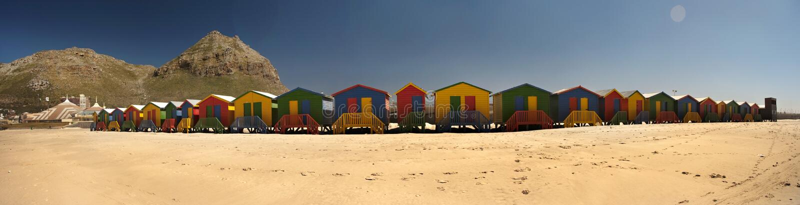 Beach hut panoramic royalty free stock photo