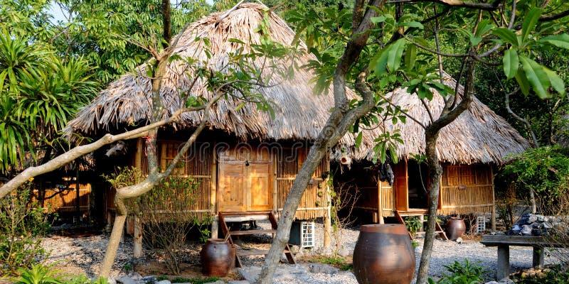Beach Huts. Bungalow hut accommodation on the beach royalty free stock photo