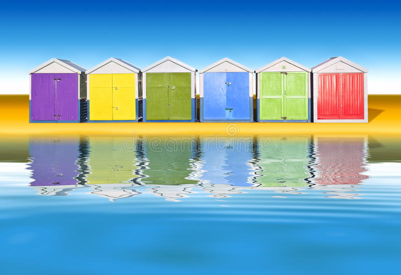 Beach huts. An image of colorful little beach huts royalty free stock photo