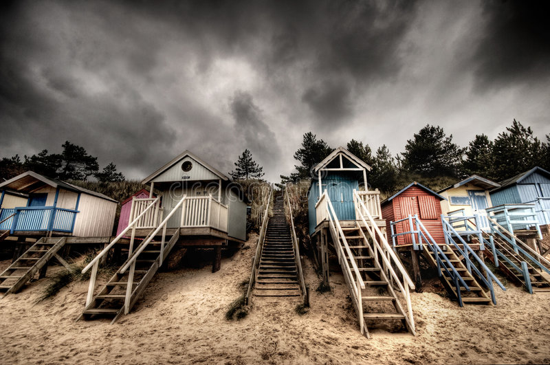 Beach huts. On the north Norfolk coast in England stock image