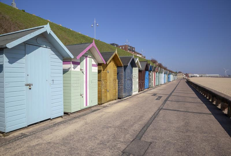 Beach huts along the seafront, Lowestoft, Suffolk, England stock image