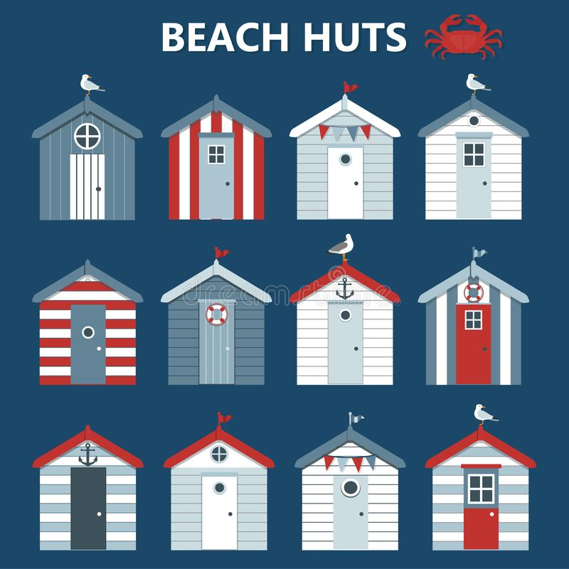Beach huts on blue background. royalty free illustration