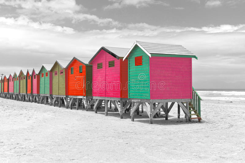 Beach huts in Cape Town stock photo