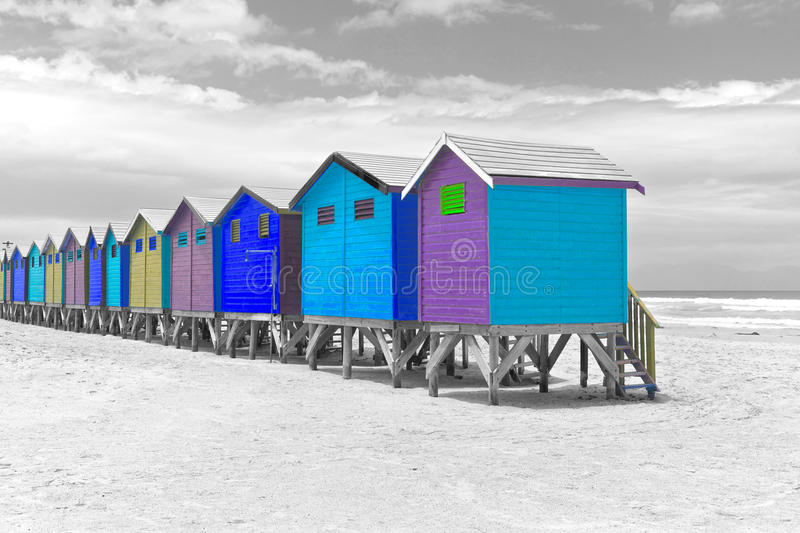 Beach huts in Cape Town stock images