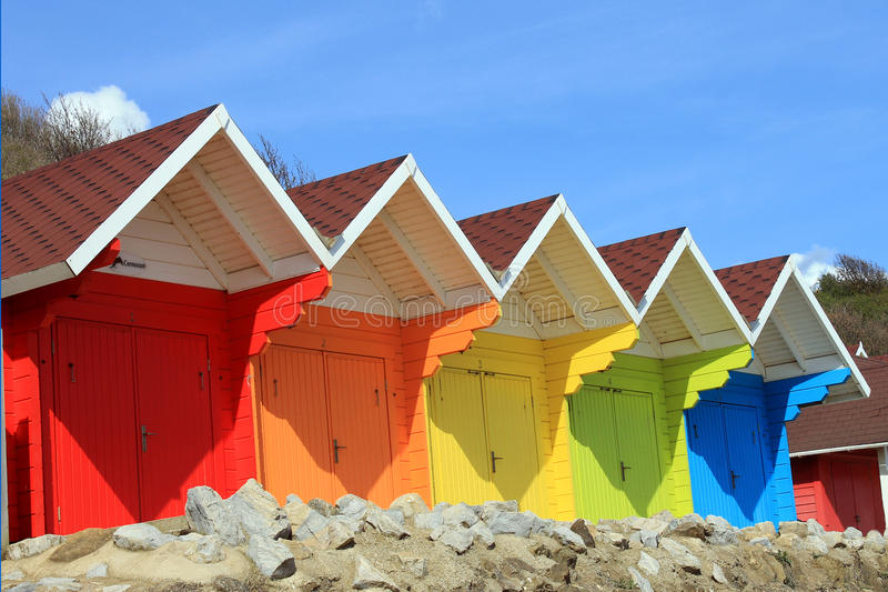 Beach huts or chalets stock images