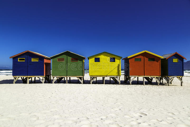 Beach huts. Colour beach huts at Muizenberg beach near Cape Town, South Africa stock images