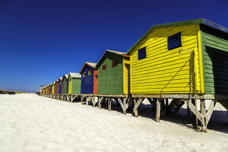 Beach huts. Colour beach huts at Muizenberg beach near Cape Town, South Africa royalty free stock photos