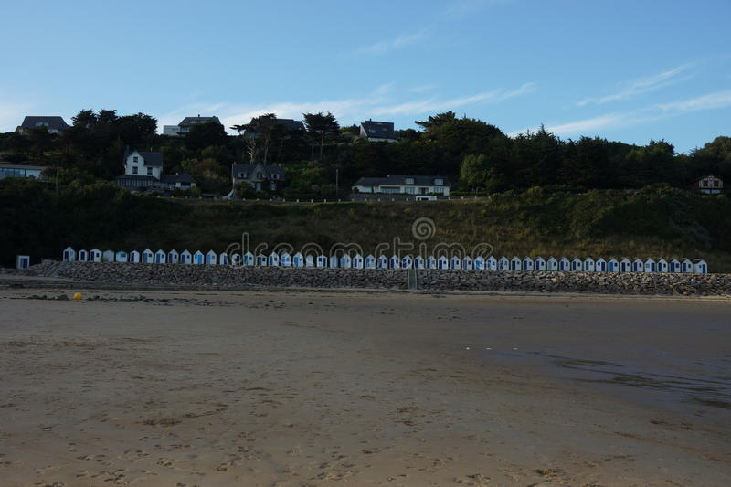 Beach huts in france. Some elevated beach huts to keep your stuff dry while you are away stock images